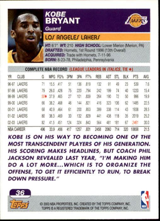 2003-04 Topps #36 Kobe Bryant back image