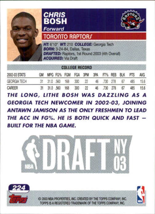 2003-04 Topps First Edition #224 Chris Bosh back image