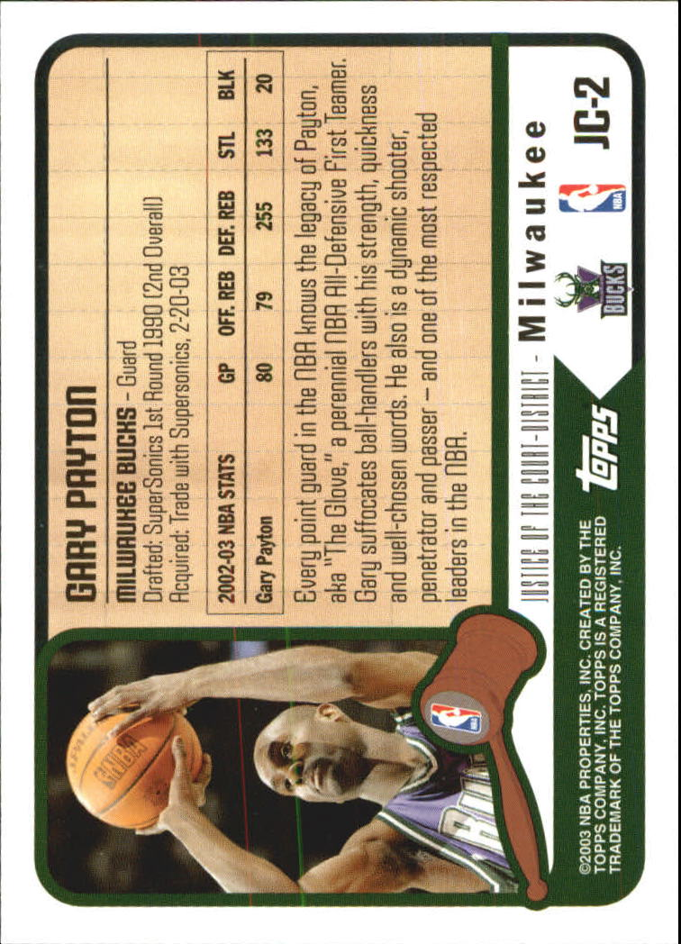 2003-04 Topps Justice of the Court #JC2 Gary Payton back image