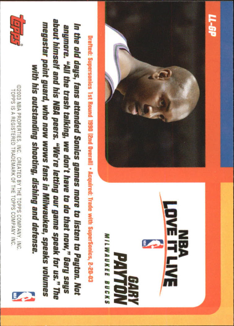 2003-04 Topps Love it Live #LLGP Gary Payton back image