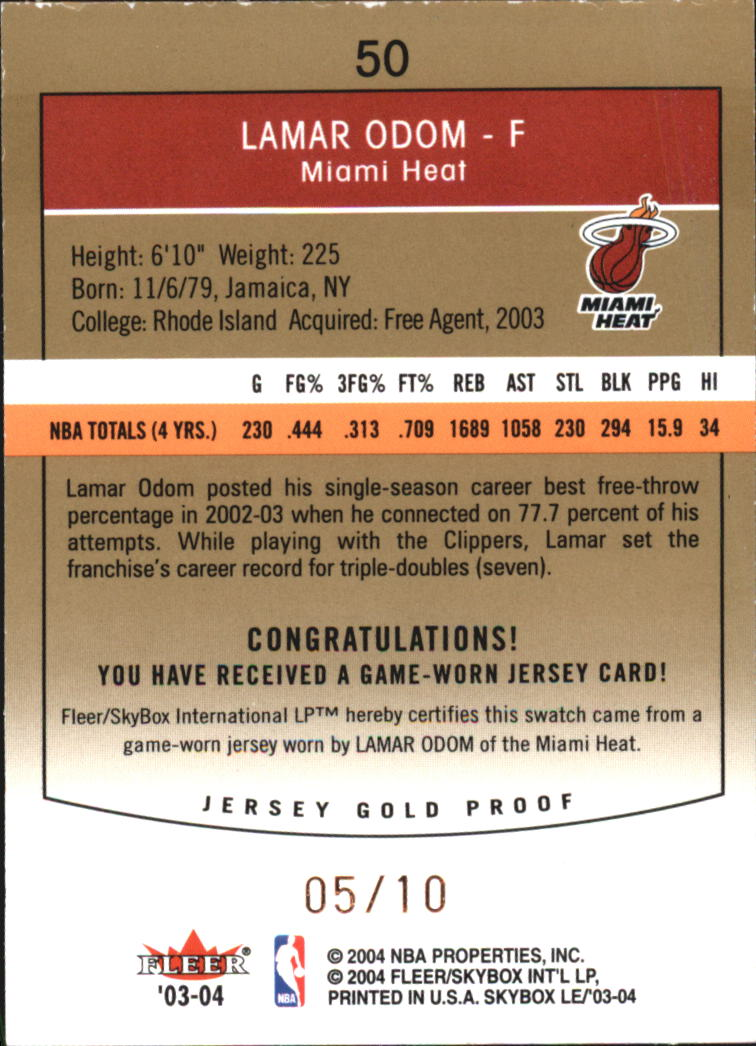 2003-04 SkyBox LE Jersey Proofs 10 #50 Lamar Odom back image