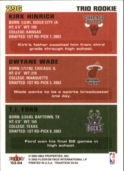 2003-04 Fleer Tradition #296 T.J. Ford RC/Dwyane Wade RC/Kirk Hinrich RC back image