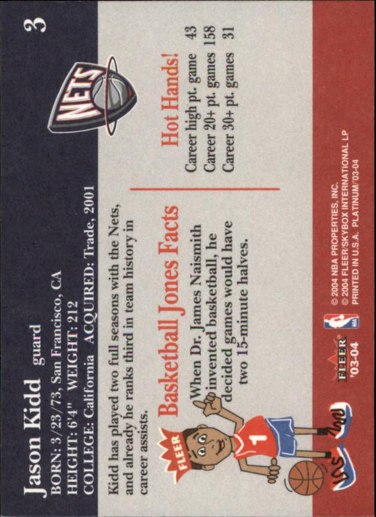 2003-04 Fleer Platinum #3 Jason Kidd back image