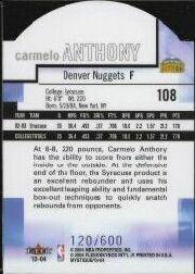 2003-04 Fleer Mystique Die Cut #108 Carmelo Anthony back image