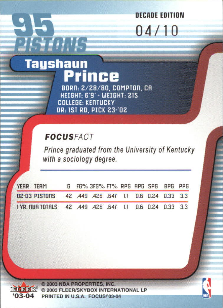 2003-04 Fleer Focus Numbers Decade #95 Tayshaun Prince back image
