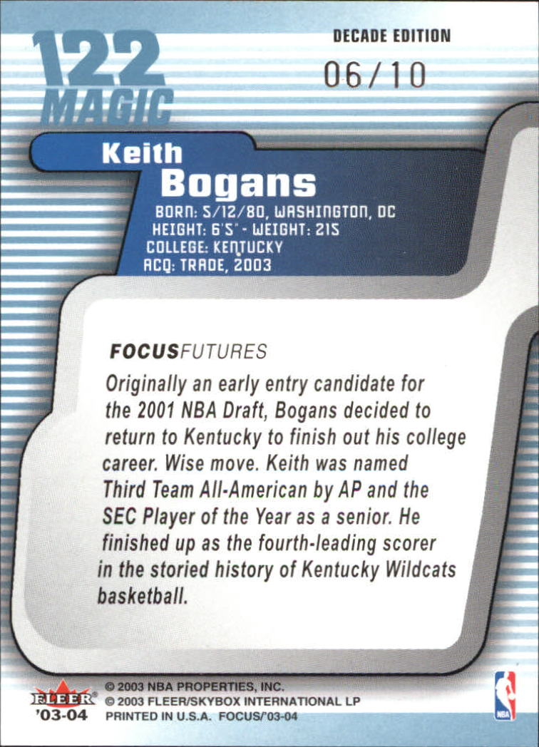 2003-04 Fleer Focus Numbers Decade #122 Keith Bogans back image