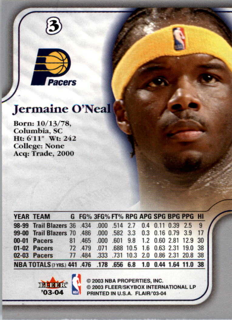 2003-04 Flair #3 Jermaine O'Neal back image