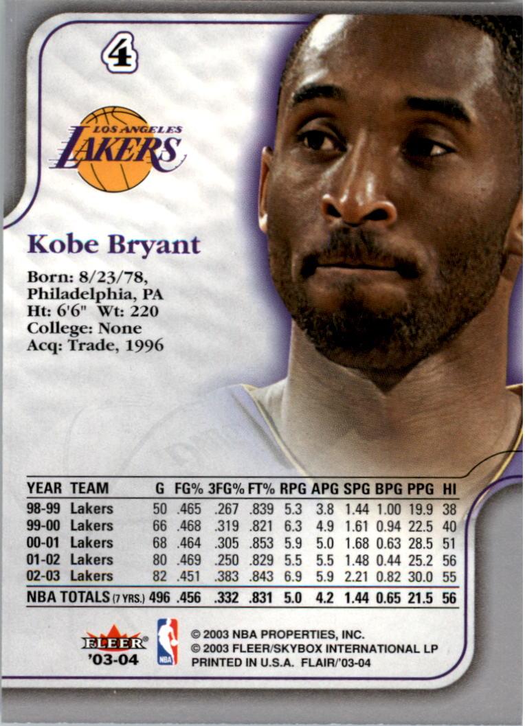 2003-04 Flair #4 Kobe Bryant back image