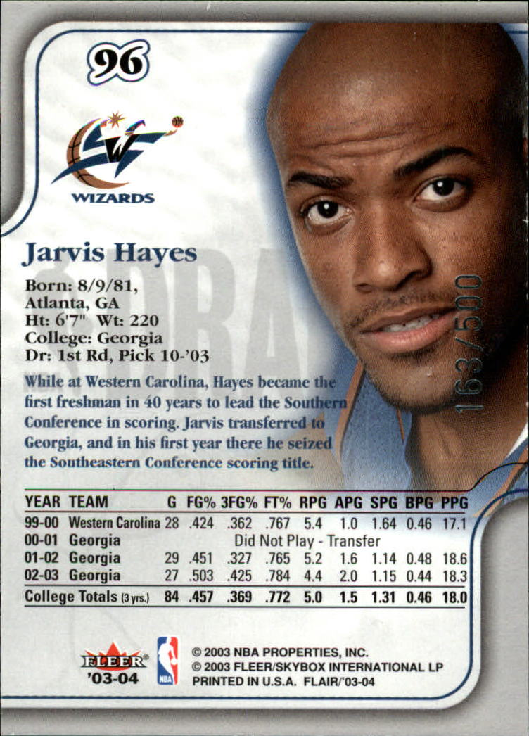 2003-04 Flair #96 Jarvis Hayes RC back image