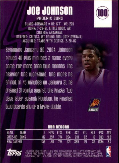 2003-04 Finest #100 Joe Johnson back image