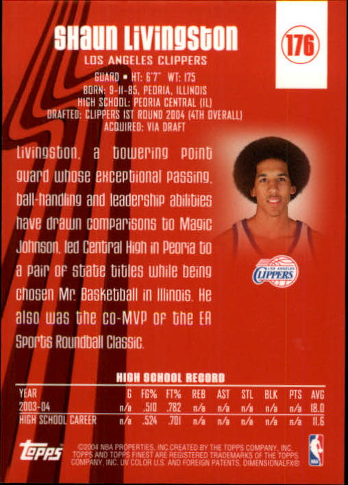 2003-04 Finest #176 Shaun Livingston XRC back image