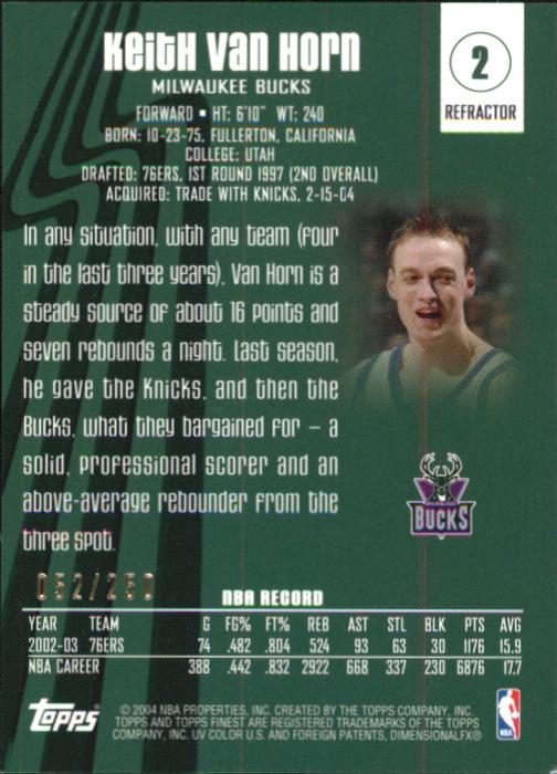 2003-04 Finest Refractors #2 Keith Van Horn back image