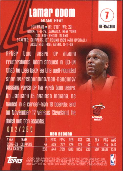2003-04 Finest Refractors #7 Lamar Odom back image