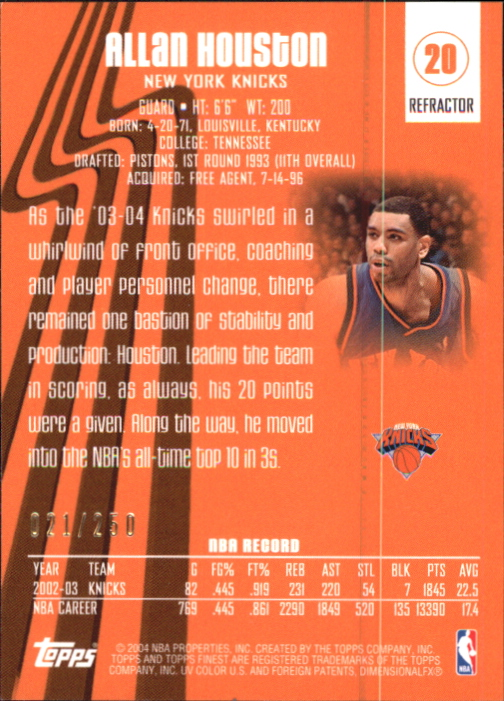 2003-04 Finest Refractors #20 Allan Houston back image