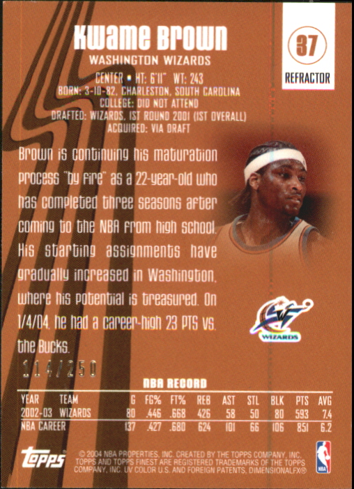 2003-04 Finest Refractors #37 Kwame Brown back image