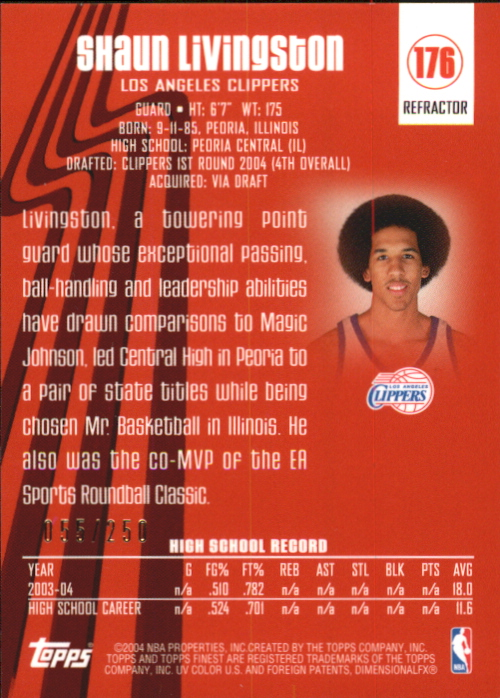 2003-04 Finest Refractors #176 Shaun Livingston back image