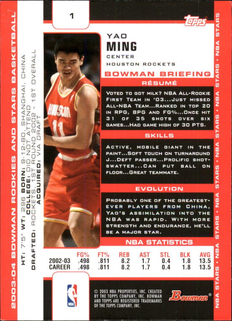 2003-04 Bowman #1 Yao Ming back image