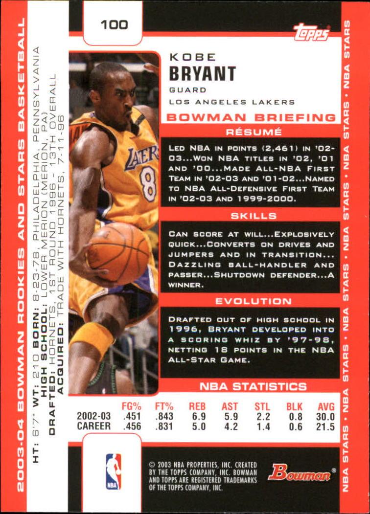 2003-04 Bowman #100 Kobe Bryant back image