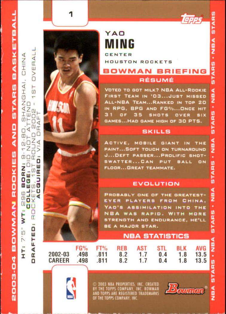 2003-04 Bowman Gold #1 Yao Ming back image