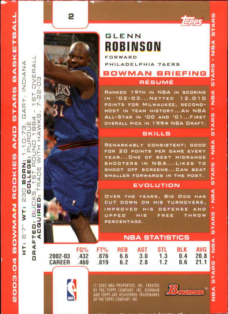 2003-04 Bowman Gold #2 Glenn Robinson back image