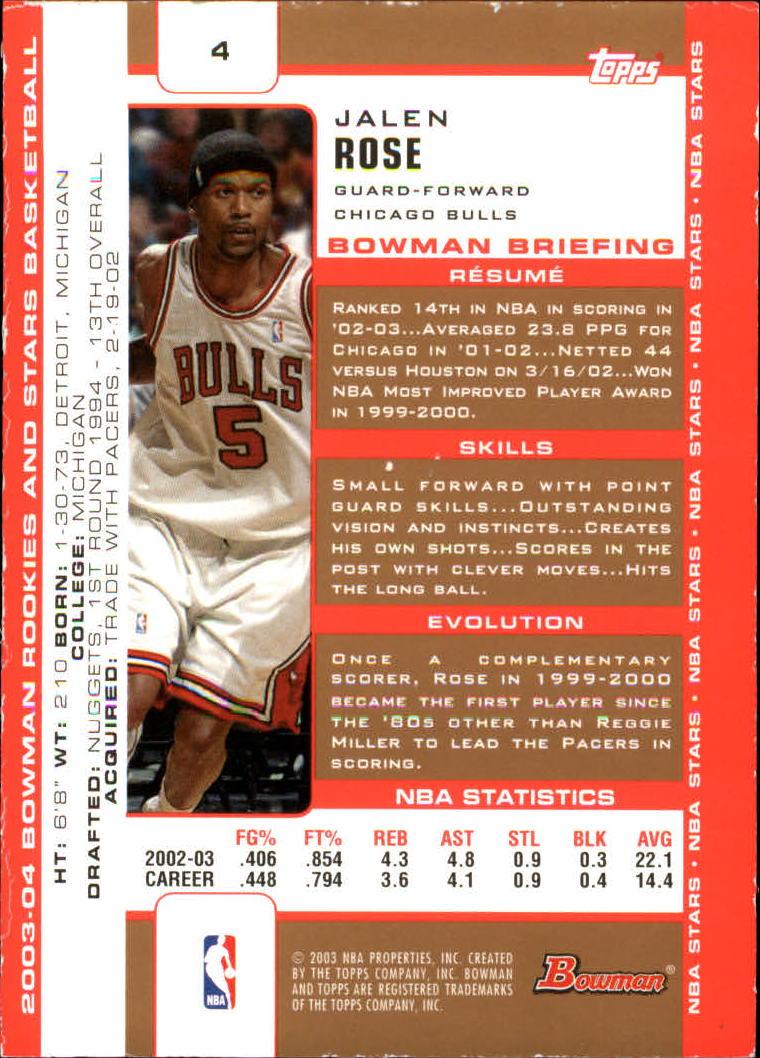 2003-04 Bowman Gold #4 Jalen Rose back image