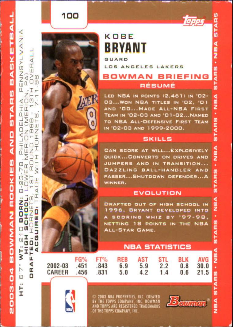 2003-04 Bowman Gold #100 Kobe Bryant back image