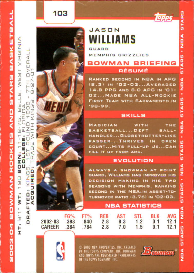 2003-04 Bowman Gold #103 Jason Williams back image