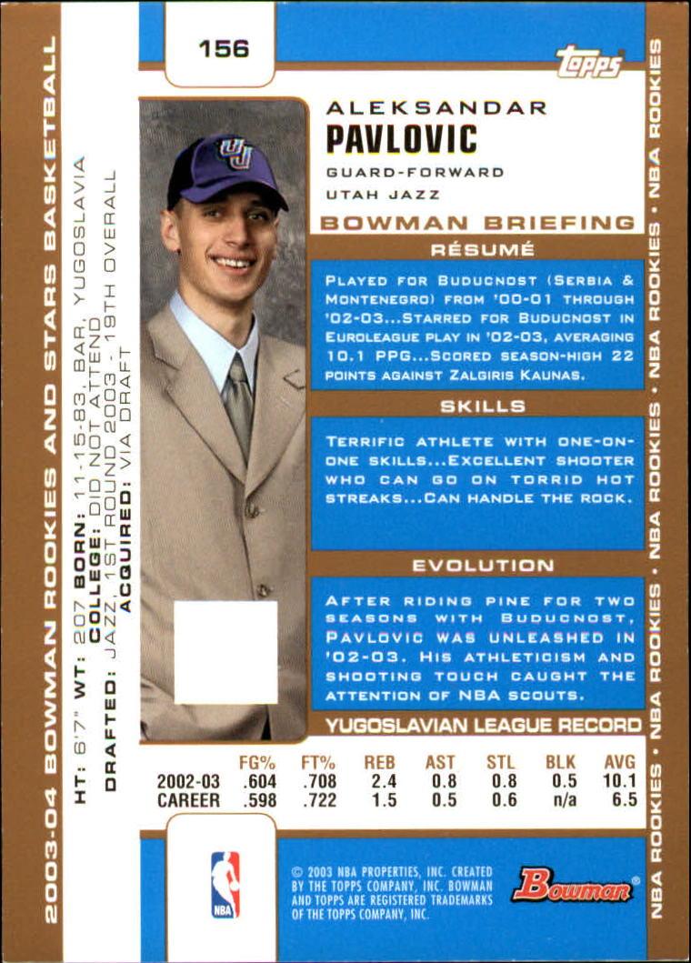 2003-04 Bowman Gold #156 Aleksandar Pavlovic back image