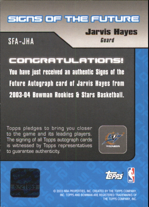 2003-04 Bowman Signs of the Future #JHA Jarvis Hayes back image