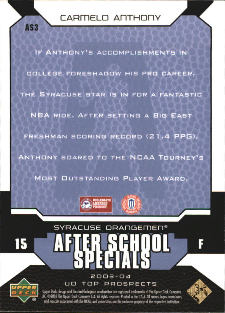 2003-04 UD Top Prospects After School Specials #AS3 Carmelo Anthony back image