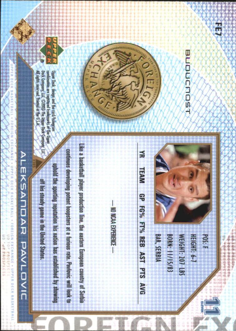 2003-04 UD Top Prospects Foreign Exchange #FE7 Aleksandar Pavlovic back image