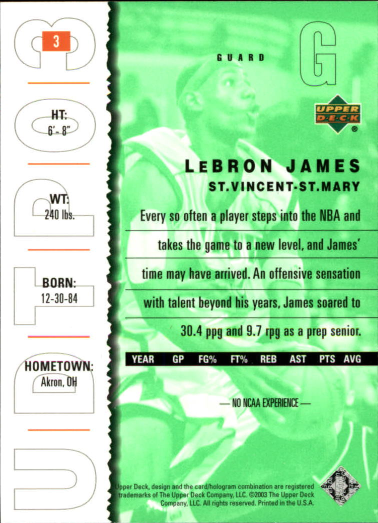 2003-04 UD Top Prospects #3 LeBron James back image