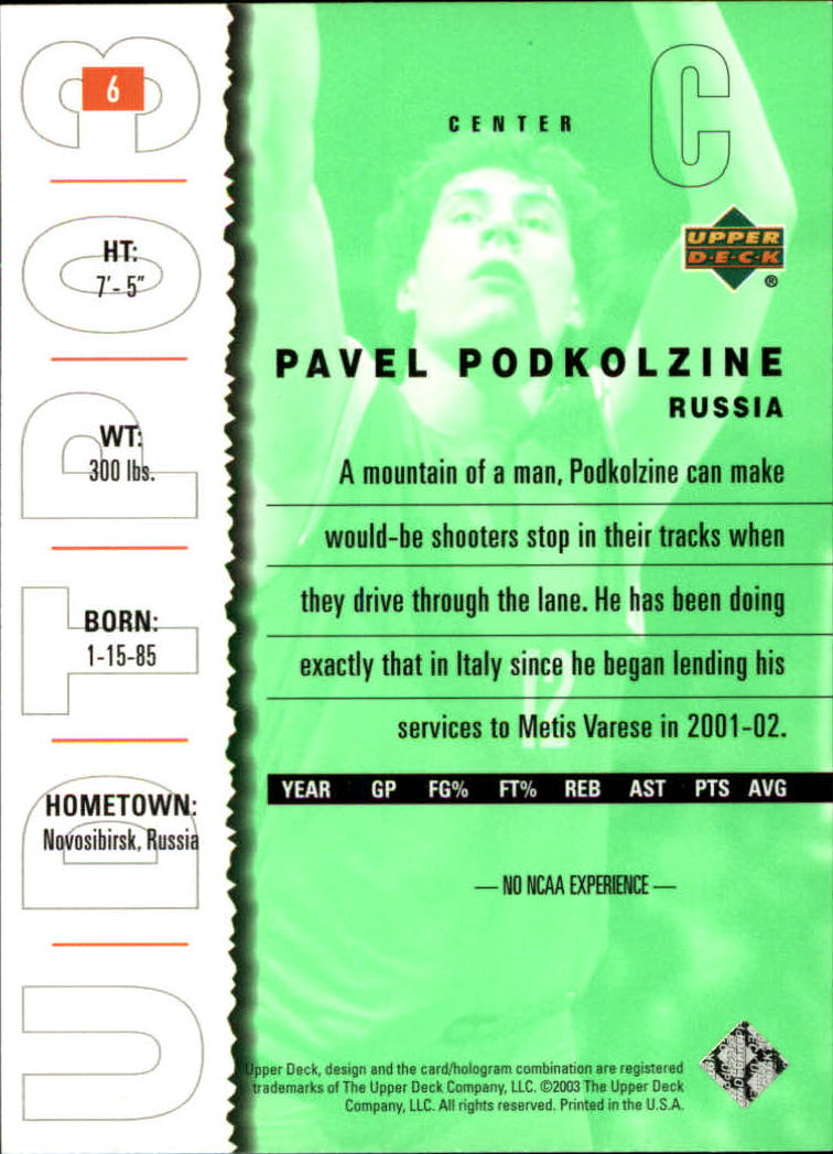 2003-04 UD Top Prospects #6 Pavel Podkolzin back image