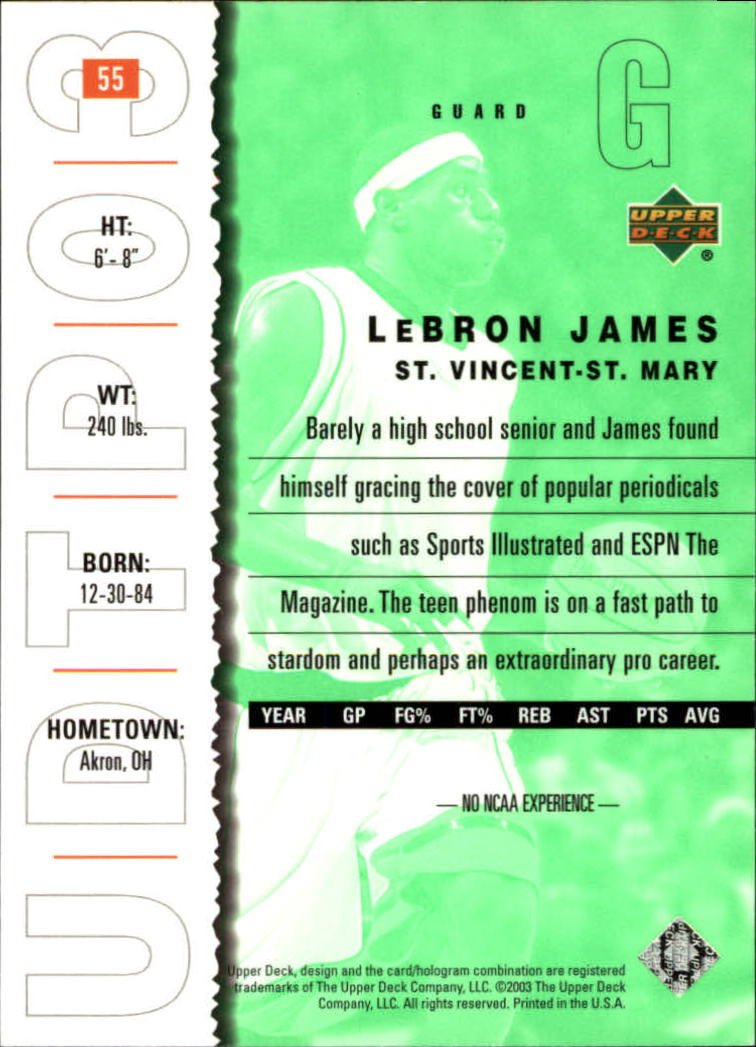 2003-04 UD Top Prospects #55 LeBron James back image