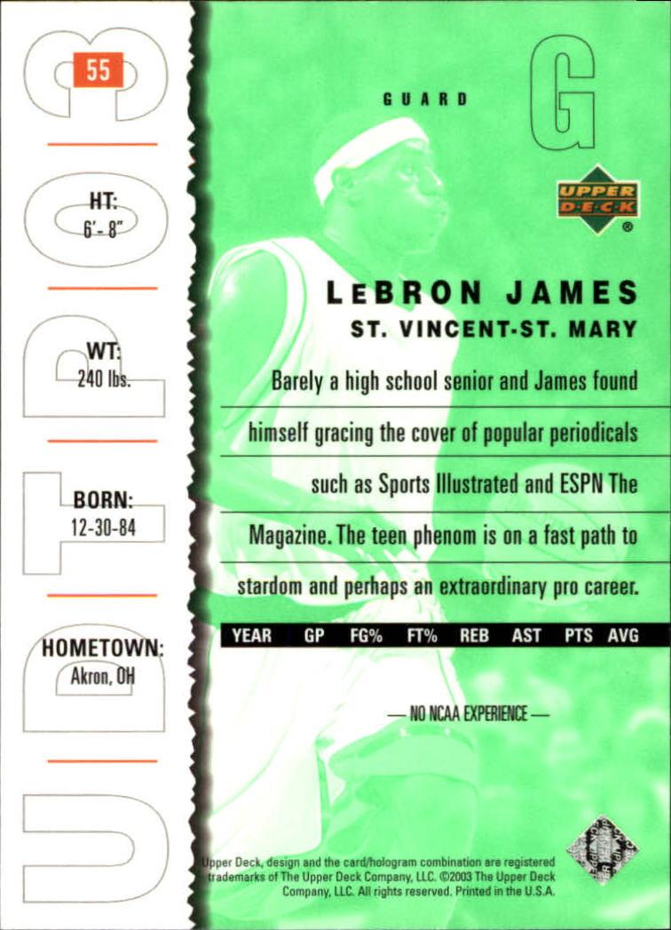 2003-04 UD Top Prospects #55 LeBron James back image