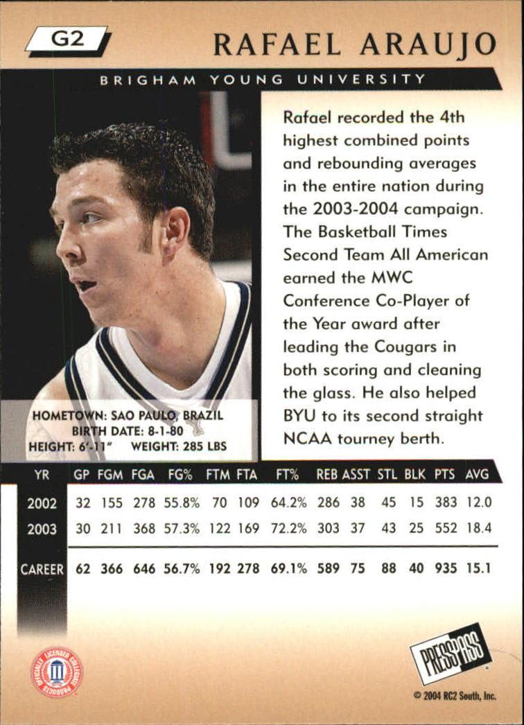 2004 Press Pass Gold #2 Rafael Araujo back image