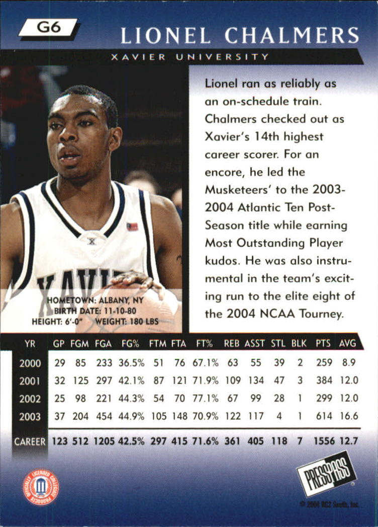 2004 Press Pass Gold #6 Lionel Chalmers back image