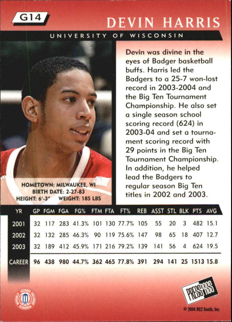 2004 Press Pass Gold #14 Devin Harris back image