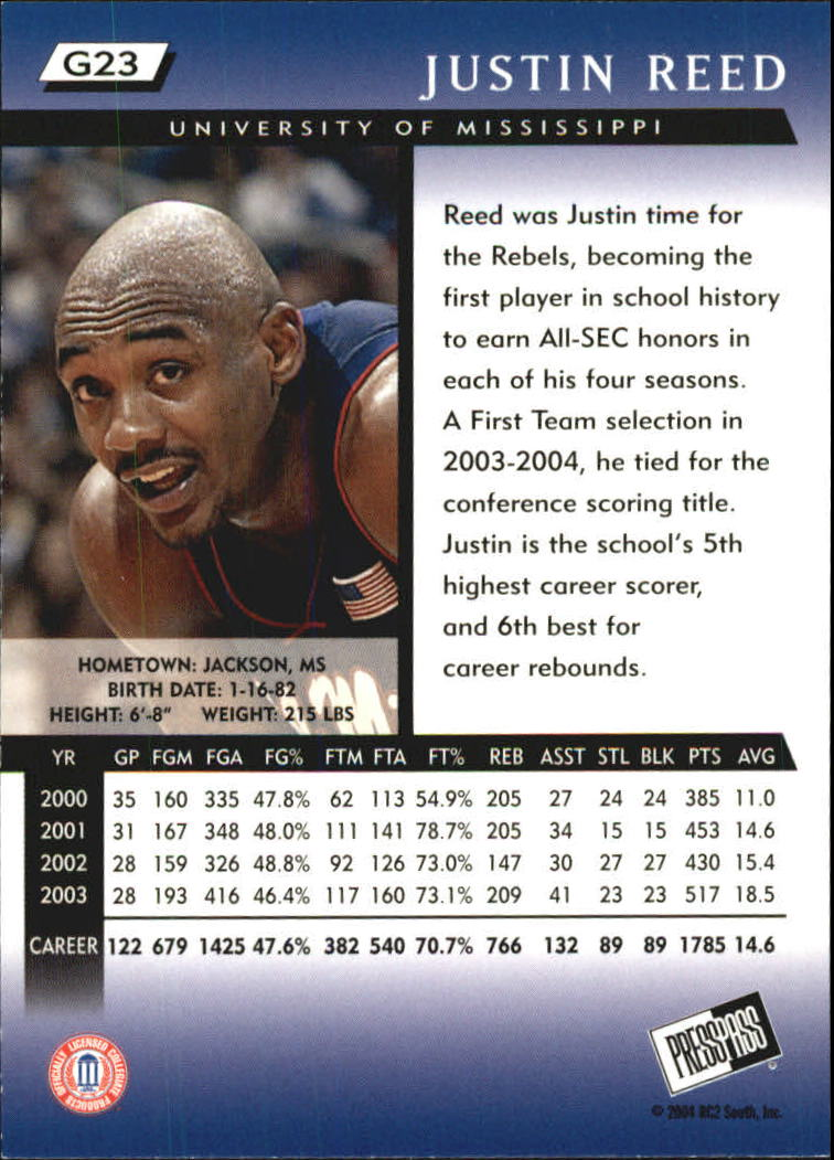 2004 Press Pass Gold #23 Justin Reed back image