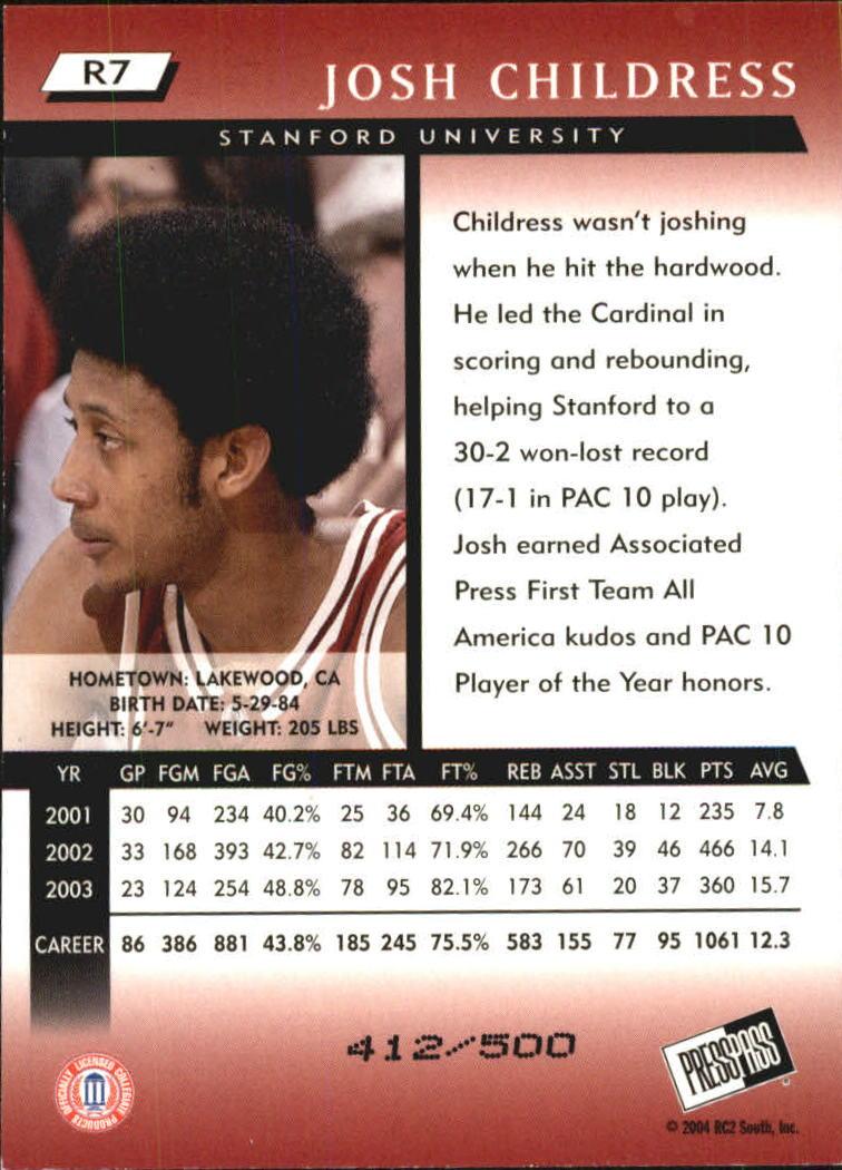 2004 Press Pass Reflectors #7 Josh Childress back image