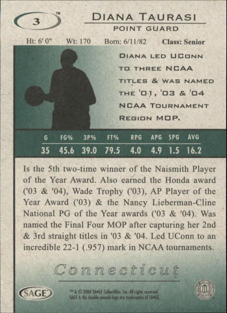 2004 SAGE HIT #3 Diana Taurasi back image