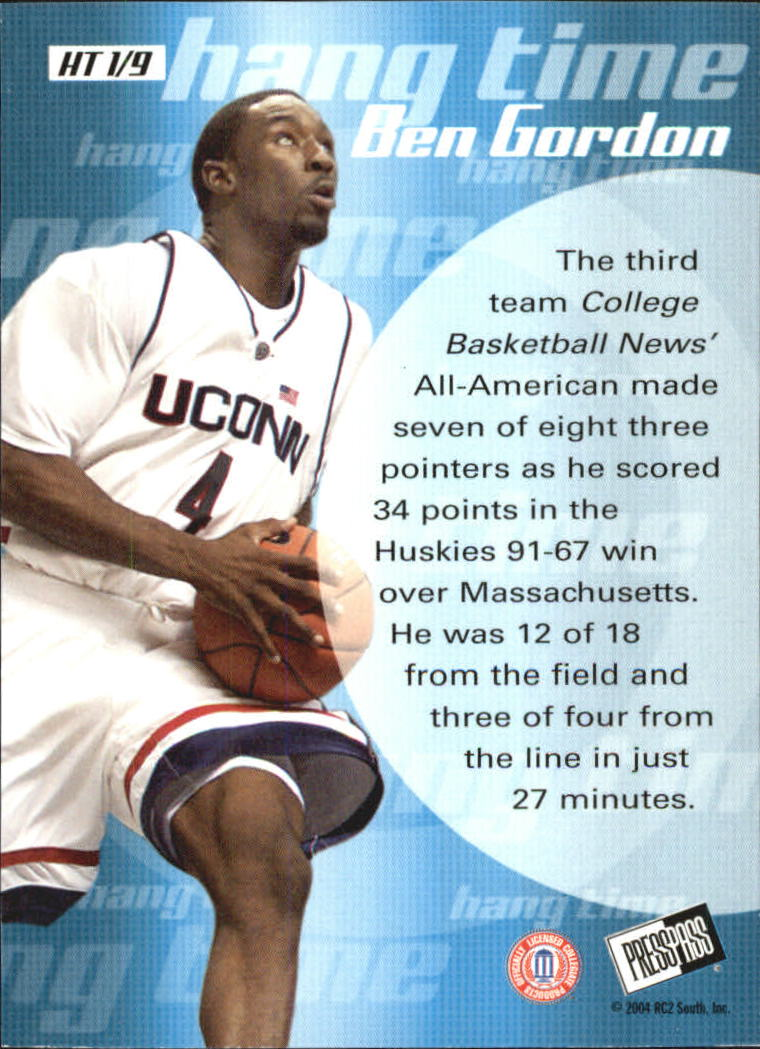 2004 Press Pass Hang Time #1 Ben Gordon back image