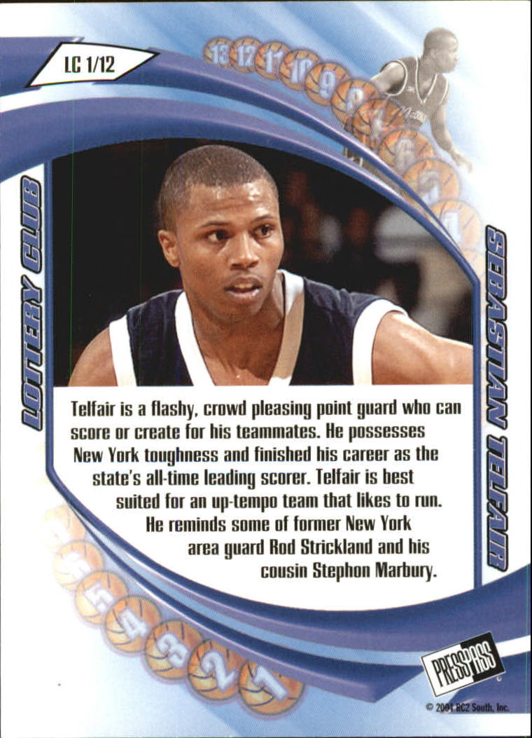 2004 Press Pass Lottery Club #1 Sebastian Telfair back image
