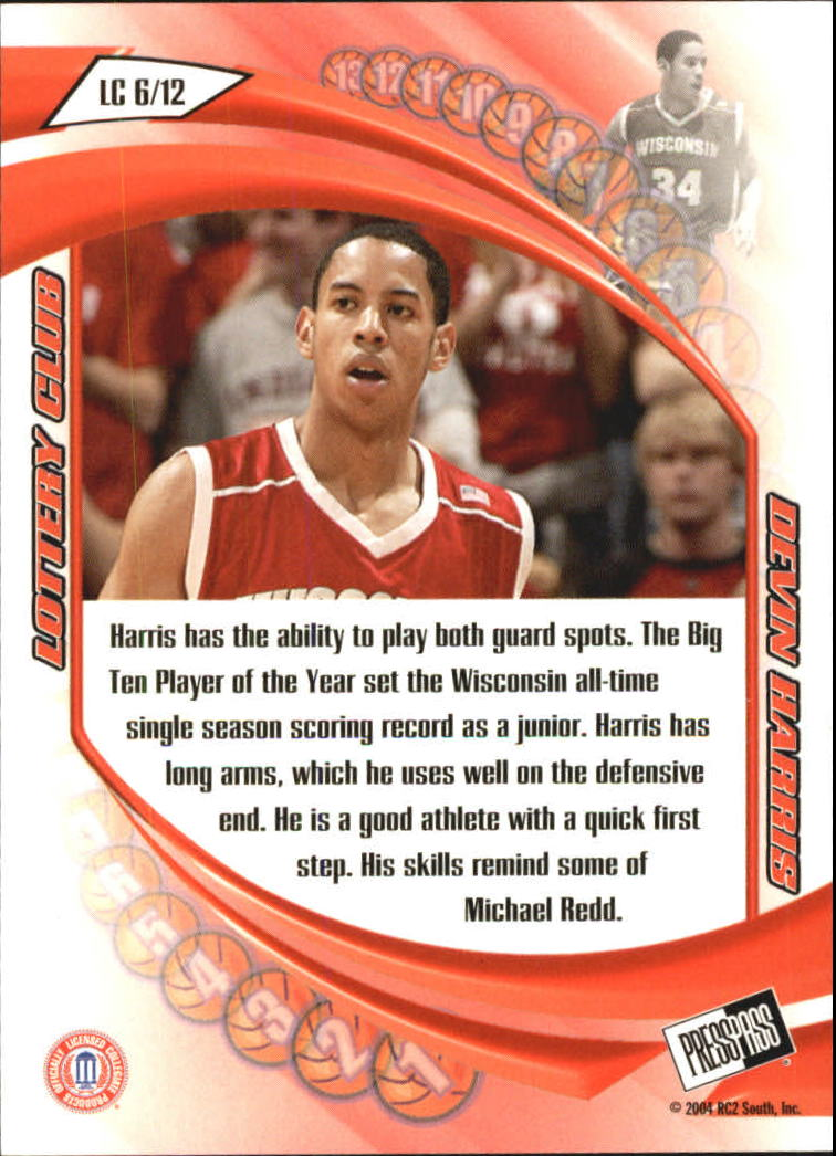 2004 Press Pass Lottery Club #6 Devin Harris back image