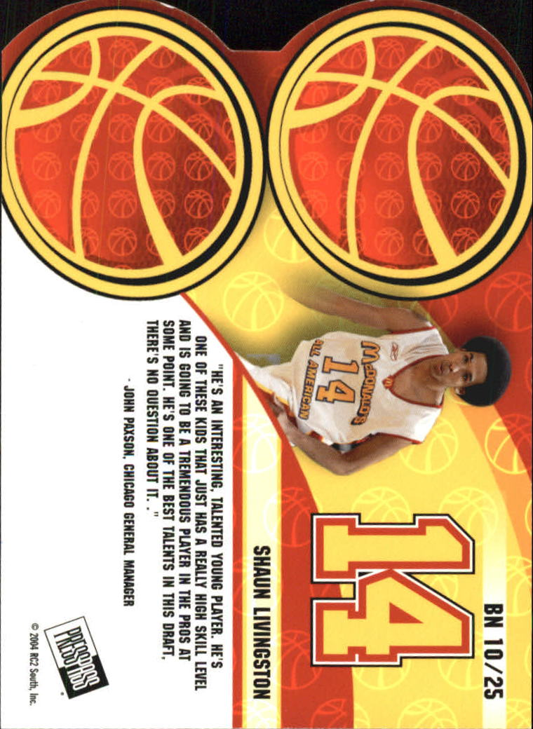 2004 Press Pass Big Numbers #10 Shaun Livingston back image