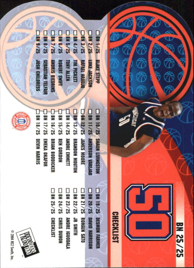 2004 Press Pass Big Numbers #25 Emeka Okafor CL back image