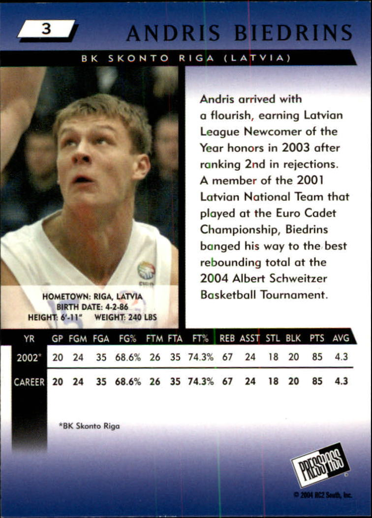 2004 Press Pass #3 Andris Biedrins back image