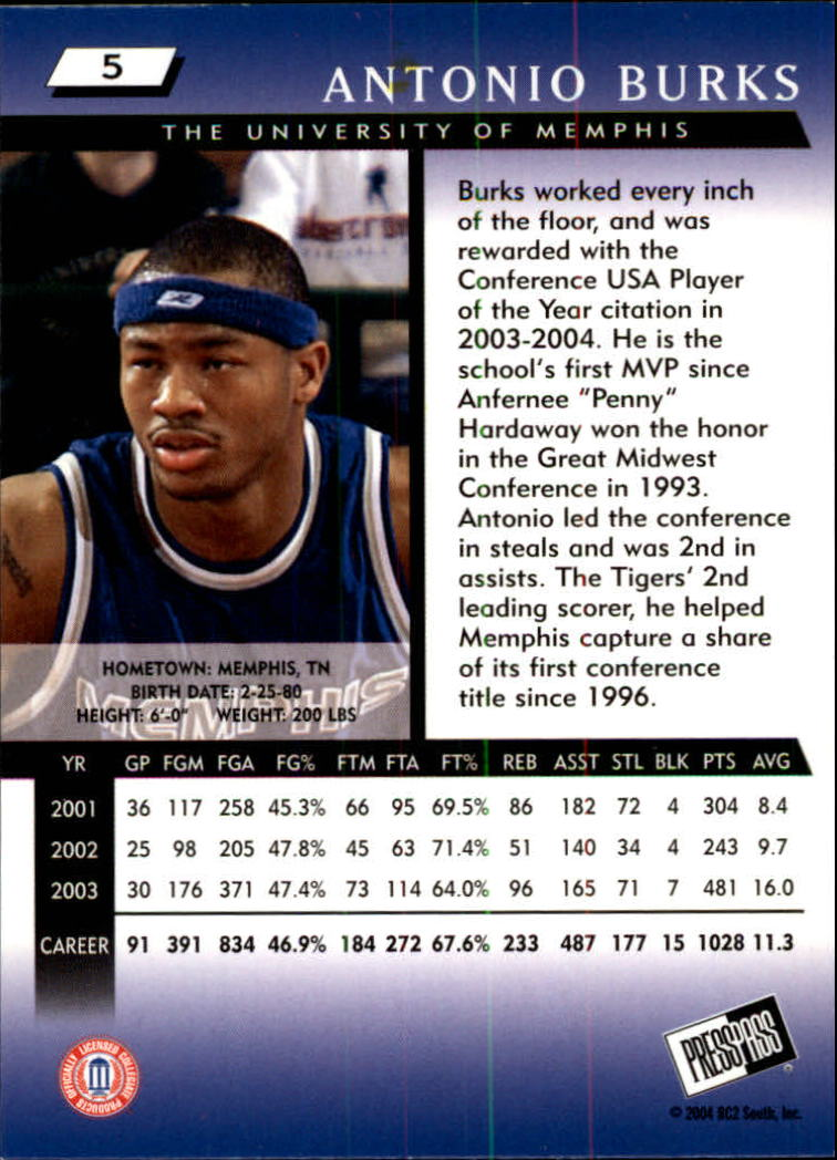 2004 Press Pass #5 Antonio Burks back image