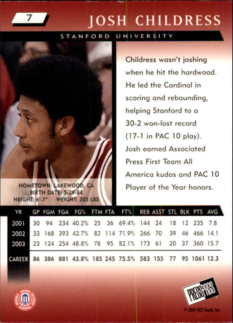 2004 Press Pass #7 Josh Childress back image