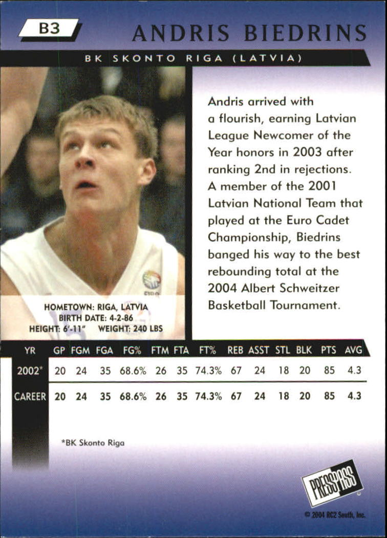 2004 Press Pass Blue #3 Andris Biedrins back image